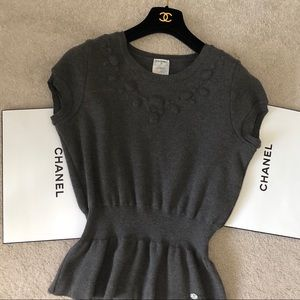 Chanel Gray Wool Short Sleeve Peplum Top Authentic